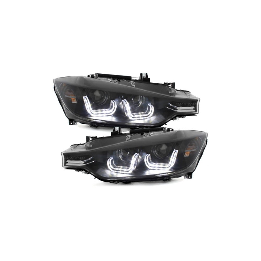 2x Phares avants BMW Serie 3 F30 F31 Xenon look Black
