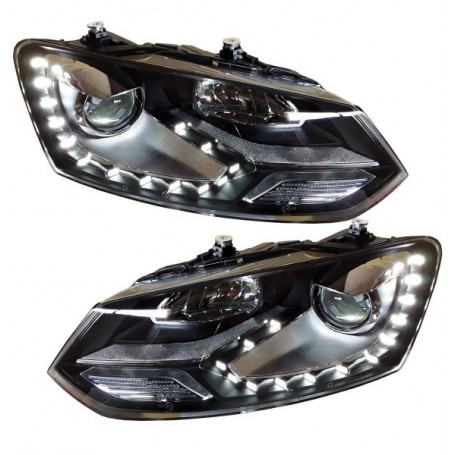 2x Phares LED Polo 6R 6C GTI Look xenon 09- CHROME